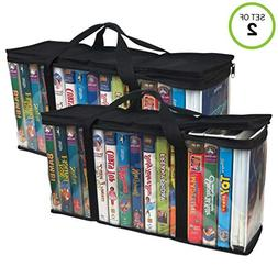 Evelots® 2 Large VHS Storage Cases,Store 30 Tapes Total & O