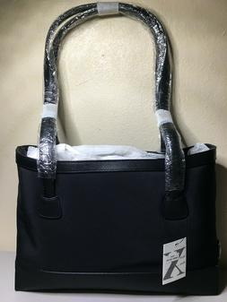 Black Polyester and Leather Shoulder Bag Organized Purse Max