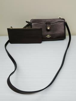 Coach Brown Leather Shoulder Bag with removable Credit Card