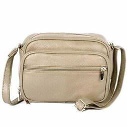 Cream-accrdn SILVERFEVER Leather Womens  Purse Cross Body Or