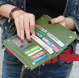 Fashion Women's Leather Clutch Wallet Long Credit Card Holde