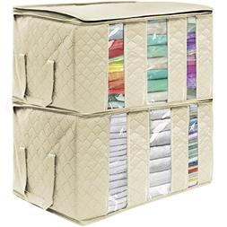 Foldable Storage Bag Organizers for Clothes Blankets Closets