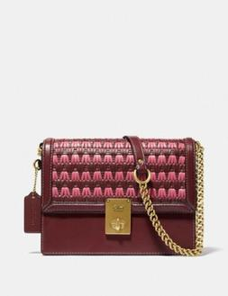 🔥Coach Hutton Shoulder Bag With Weaving #613 Brass/Wine M