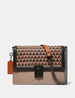 🔥Coach Hutton Shoulder Bag With Weaving #615 Pewter/Taupe