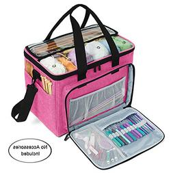Teamoy Knitting Bag, Yarn Tote Organizer with Inner Divider