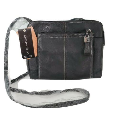 black leather crossbody organizer bag