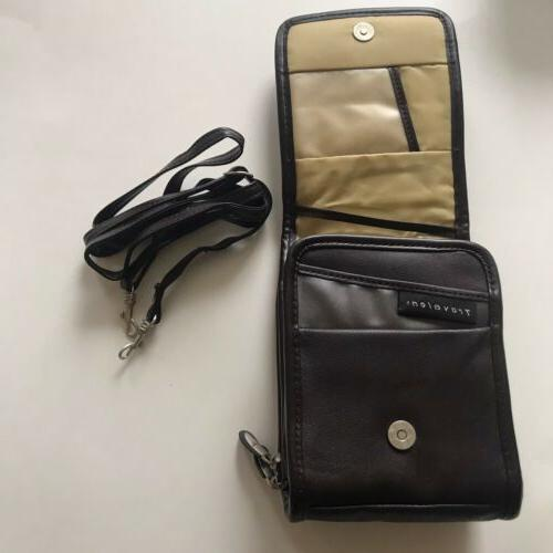 brown leather crossbody travel purse new lightweight