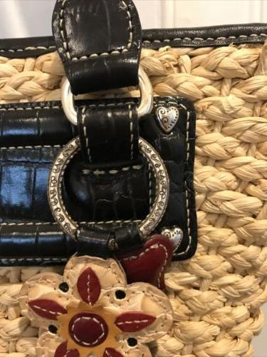 Brighton Woven Tote/Bag/Purse Leather Lined Heart Charm