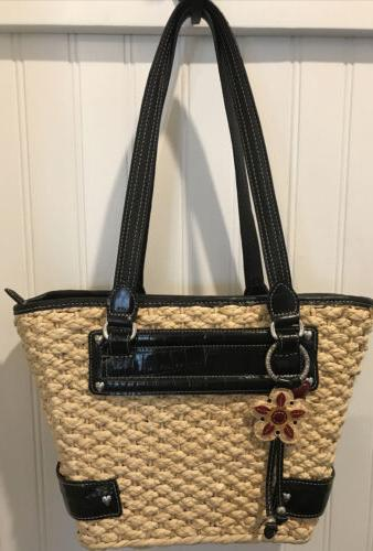 woven tote bag purse black leather lined