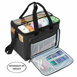 Large Knitting Bag,Yarn Tote Organizer with Inner Divider fo