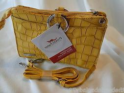 NEW POUCHEE PLUS DELUXE Faux Leather Vegan CROCO YELLOW Purs