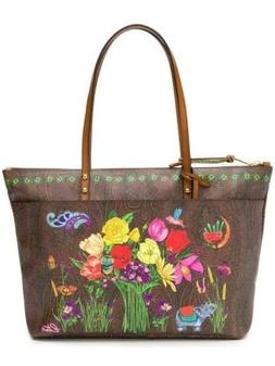Etro Paisley Canvas Zip Tote Bag With Floral, Elephant, Lady