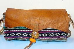 Recycled Handmade organic cotton w Leather cover multi-color