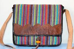 Recycled Handmade organic cotton w Leather framed multi-colo