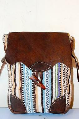 Recycled Handmade organic cotton w/t Leather mix multi-color