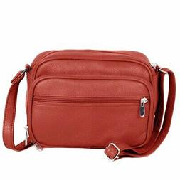 Red-accrd SILVERFEVER Leather Womens Shoulder Purse Cross Bo