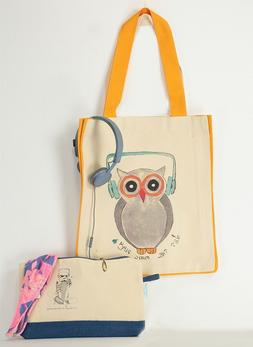 The Owl Organic Heavy Canvas Cotton Tote Bag, Inside pocket,