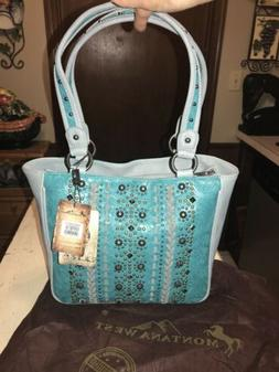 Montana West Tooled Turquoise  Faux Leather, Metal Studs/Gro