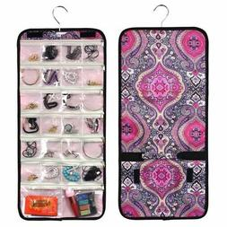 Travel Practical Jewelry Hanging Organizer Roll Bag Storage