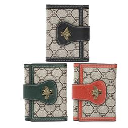 Women's Small Bee Buckle Trifold Wallet Card Holder Organi