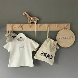 Wooden Coat Hooks Wall Hanger Hat Clothes Bag Storage Shelf