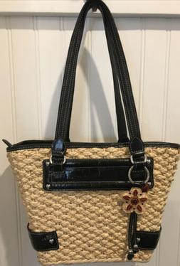 Brighton Woven Tote/Bag/Purse Black Leather Lined w/ Flower